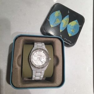 Fossil White Ceramic Watch with Rhinestones